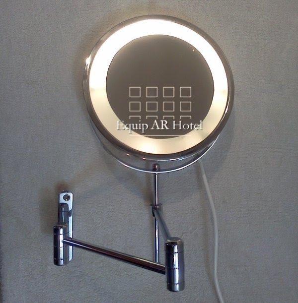 espejo de amurar doble brazo con luz