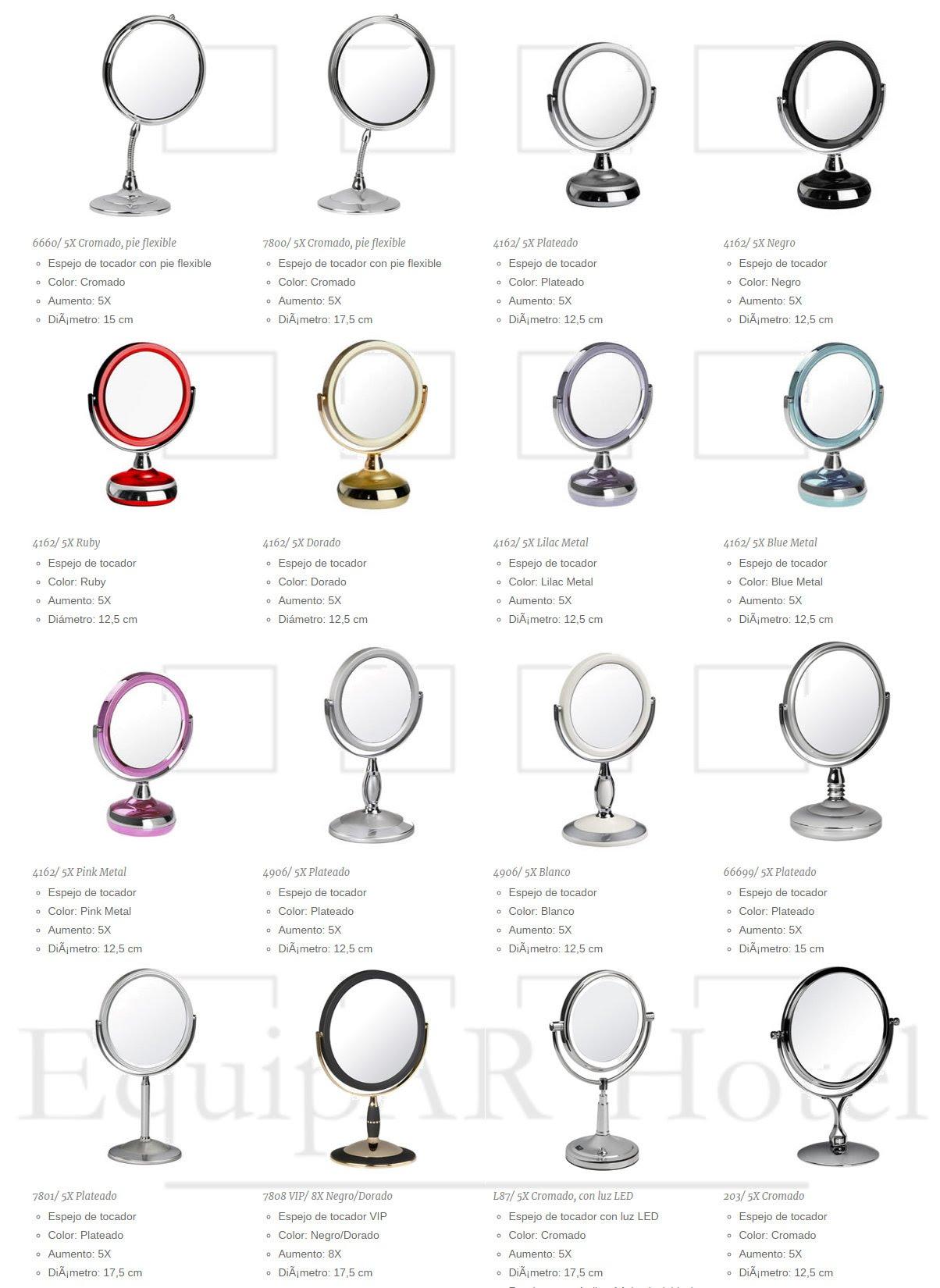Espejos de tocador equipar hotel equipamiento para hoteles for Accesorios para espejos de bano